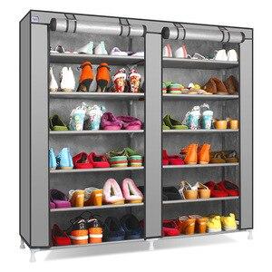 Image 4 - שורות זוגי גדול נעלי ארון אחסון שאינו ארוג בד נעלי ארגונית מדף DIY הרכבה אבק הוכחה נעלי מדפים נעל Rack