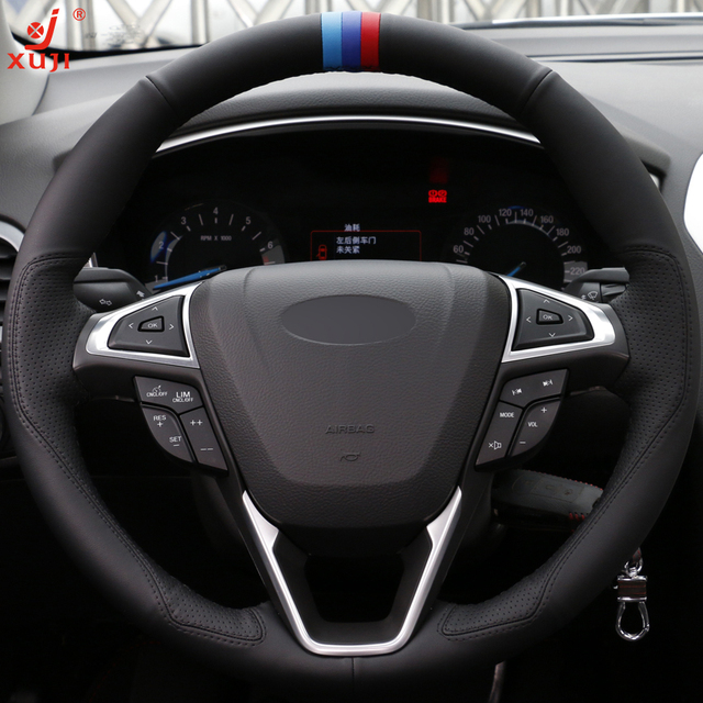 Xuji Diy Hand Sched Car Steering Wheel Cover Black Leather For Ford Fusion Mondeo 2017 Edge 2016