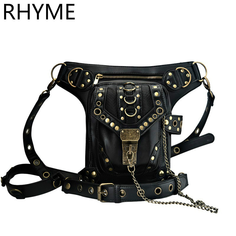 цены  RHYME Steam Punk General Mobile Phone Bag Mini Leg Bag Travel Men Women's Handbag Retro Rock Gothic Leather Waist Bags