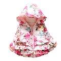2017 Novos do bebê meninas Jaquetas crianças Inverno padrão floral aquecido Algodão Casacos Crianças Encantador Estilo Longo Casaco Em estoque
