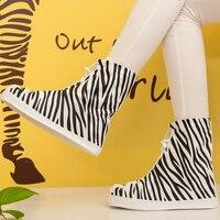 Nuove Donne di Modo Portatile Zebra-Banda Riutilizzabile Impermeabile Scarpe Da Pioggia Coprono Copriscarpe Antiscivolo