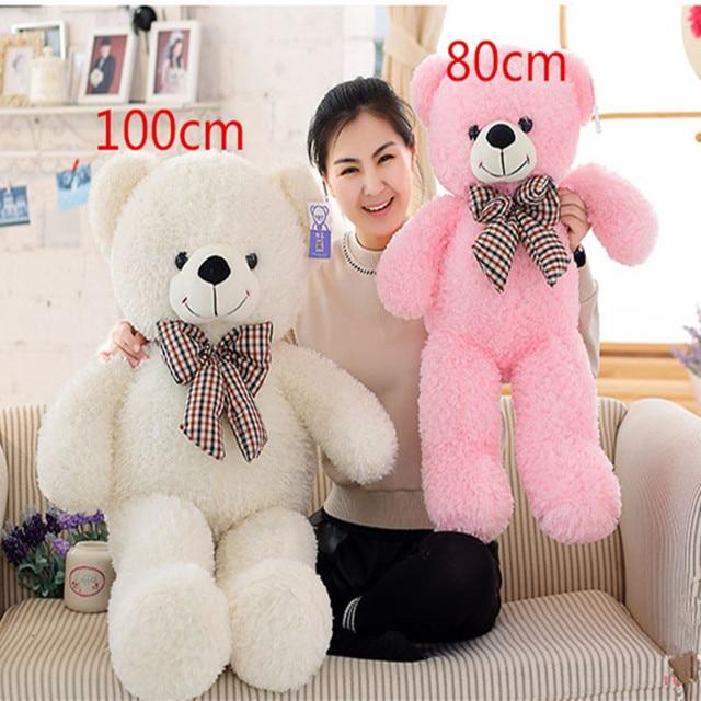 High Quality Big 60,80,100cm Giant Teddy Bear Plush Toys Stuffed Teddy Cheap Pirce Gifts for Kids Girlfriends