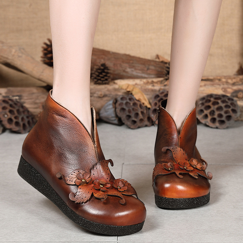 Women Flower Leather Ankle Boots Retro Shoes Winter Low Heels Genuine Leather Women Martin Boots Embroidery 2018 Shoes Women 2016 winter retro china embroidery ankle boots heels chain brand designer genuine leather short booties shoes for women footwear