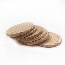 30 stücke 37mm Natürliche Flache Runde perlen keine loch unfinished DIY holz chips Kreise Holz Discs Holz Tags etiketten