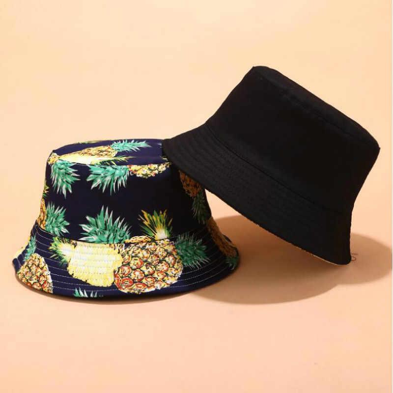 Moda Baskılı Meyve Geri Dönüşümlü Kova Şapka Kadınlar Için Pamuk Iki Tarafı Giyim Çiçek balıkçılık şapkası Yaz Kadın Plaj Güneş Panama