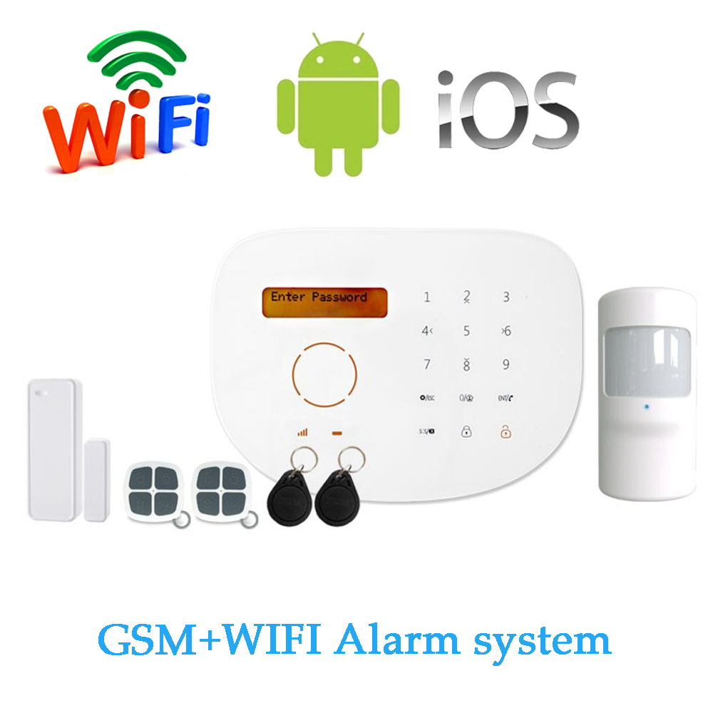 (1 Set) Touch Panel LCD Screen Home Security Alarm Protection SIM card GSM WIFI Alarm System Support apps Control Smart Home 433mhz gsm wifi home alarm system touch lcd panel alarm system support doorbell function gsm wireles alarm system