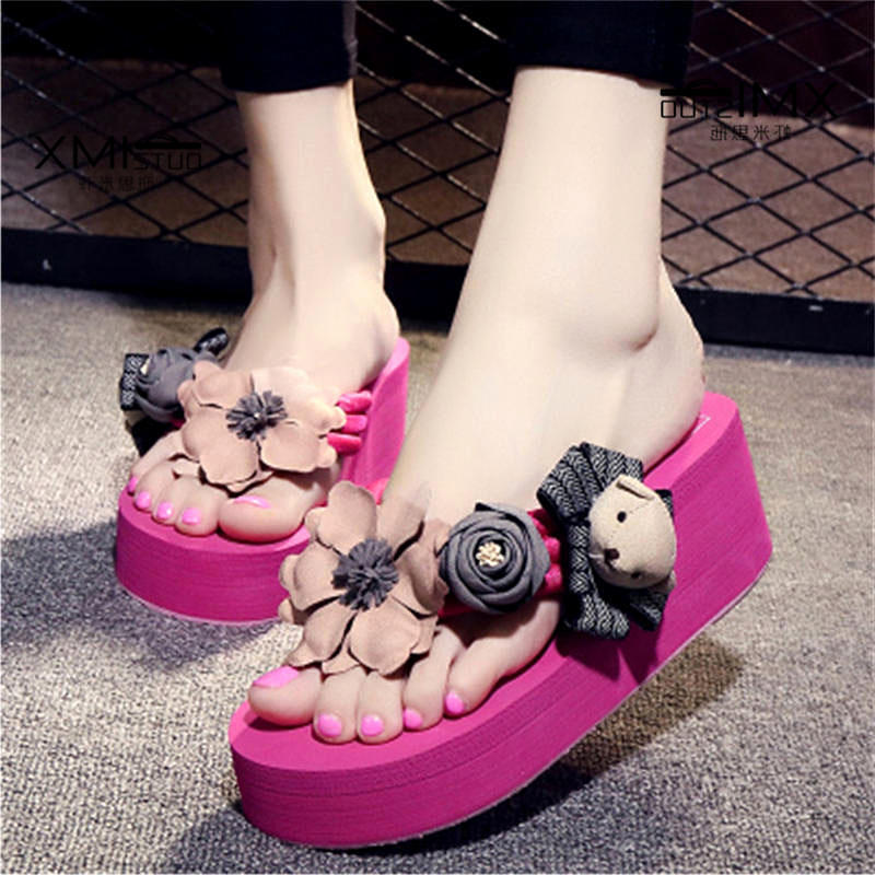 Slippers Women Summer Beach Sandals Women Flip Flops Wedge Platform High Heel Slippers For Women Brand Black EVA Ladies Shoes new summer cheap slippers women fashion flip flops beach platform sandals ladies handmade flowers wedge jelly shoes bohemia