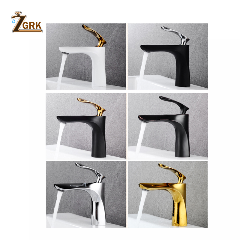 ZGRK Basin Mixer Tap Bamboo Hot Type Basin Faucet Black Chrome Finish Single Hand Bathroom Faucets Mounted Sink Kitchen