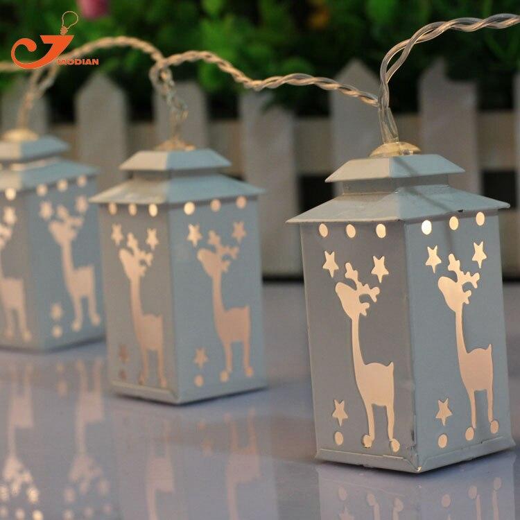 metal white lantern light deer string light fairy holiday led light Christmas garden light battery powered