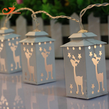 metal white lantern light deer string light fairy holiday led light Christmas garden light battery powered  party 3V AA indoor