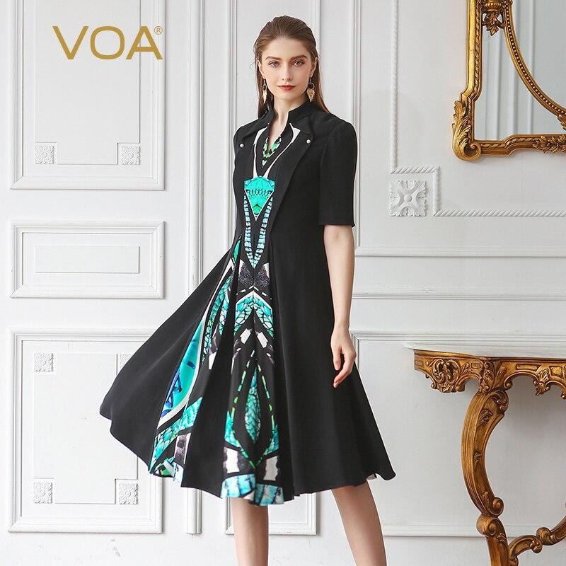 VOA 2019 verano nuevo Vintage negro de manga mitad Plus tamaño vestido de seda pesada de cierre de las mujeres elegantes vestido Midi AJX02701