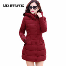 2017 New Fashion winter parkas hooded jacket women cotton wadded overcoat medium-long slim plus size XXXL wine red coats