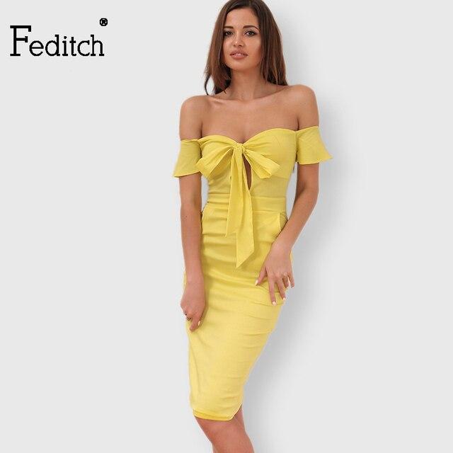 ac4a18123453a € 16.68 32% de réduction|Feditch 2019 été nouveau bustier tubulaire hors  épaule robe Sexy noeud papillon évider dos nu robes de mode sans ...