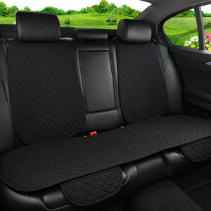 Image 2 - Car Seat Cover Universal Flax Car Rear Seat Cushion with Backrest Four Seasons Interior Auto Chair Seat Carpet Mat Pad
