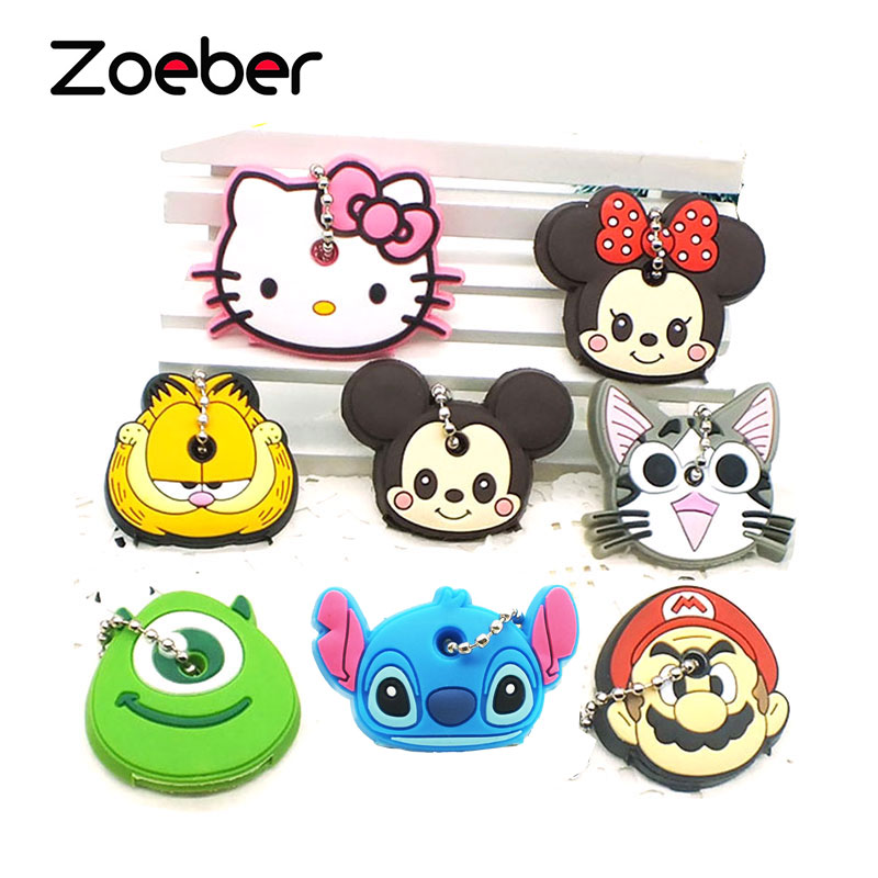 Zoeber 2018 Cartoon cute key cover Anime Silicone Key chains Funny animal key Holder caps keychain cute key style alloy quartz watch with neck chains 1 377