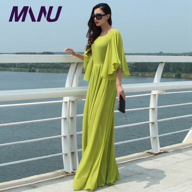 7XL Plus Size Long Autumn Winter Butterfly Sleeve O-Neck Long Maxi Vestidos Black Dresses