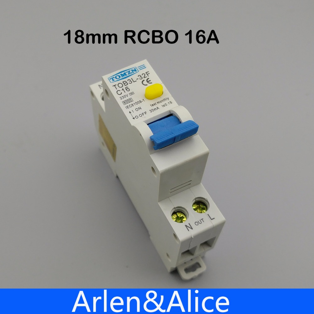 18MM RCBO 16A 1P+N 6KA Residual current differential automatic Circuit breaker with over current Leakage protection dz47le 3p n 100a 220 380v small earth leakage circuit breaker dz47le 100a household leakage protector switch rcbo