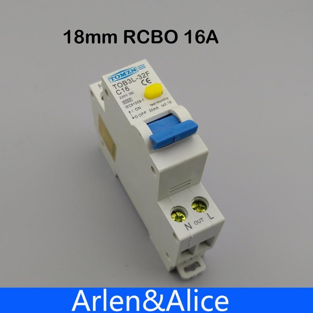 Disjoncteur automatique différentiel de courant résiduel RCBO 16A 1P + N 6KA, 18MM, protection contre les fuites de surintensité