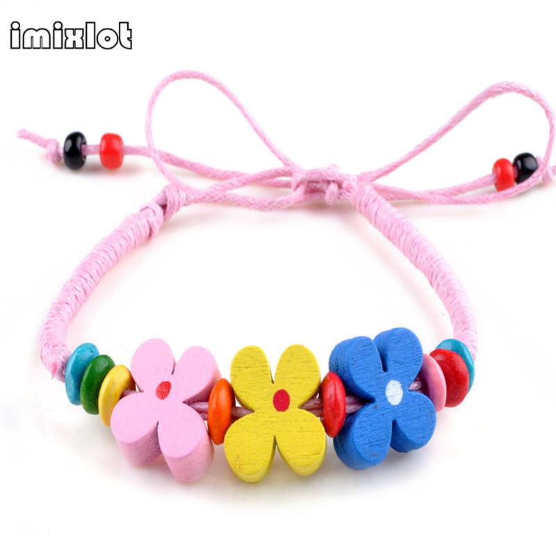Imixlot 2017 Real 10 Colors Wooden Flower Beads Bracelet Wristband Adjustable Ethnic Handmade Woven Rope & Bangles For Girl