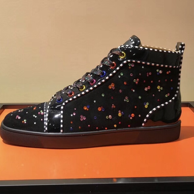 f1d789224 Casual Designer Sneakers Free shipping fashion women Black suede Multi  color crystal flats high Top sneakers shoes boots