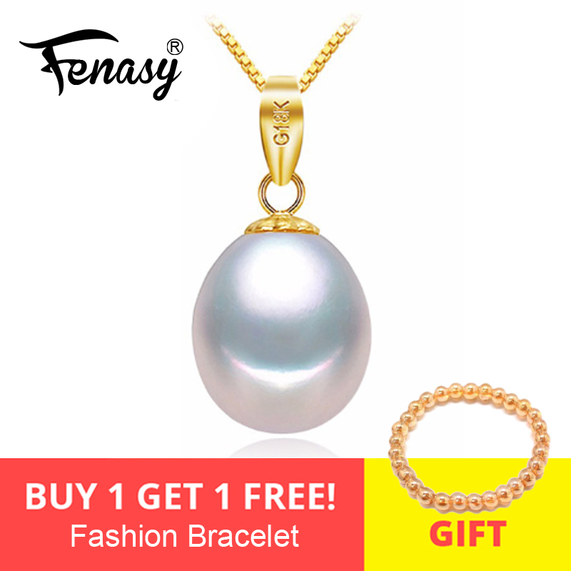 FENASY 18K Gold Peandant Pearl Jewelry Necklaces & Pendant For Lovers Brand Party Pearl Pendants Send S925 Silver NecklacesFENASY 18K Gold Peandant Pearl Jewelry Necklaces & Pendant For Lovers Brand Party Pearl Pendants Send S925 Silver Necklaces