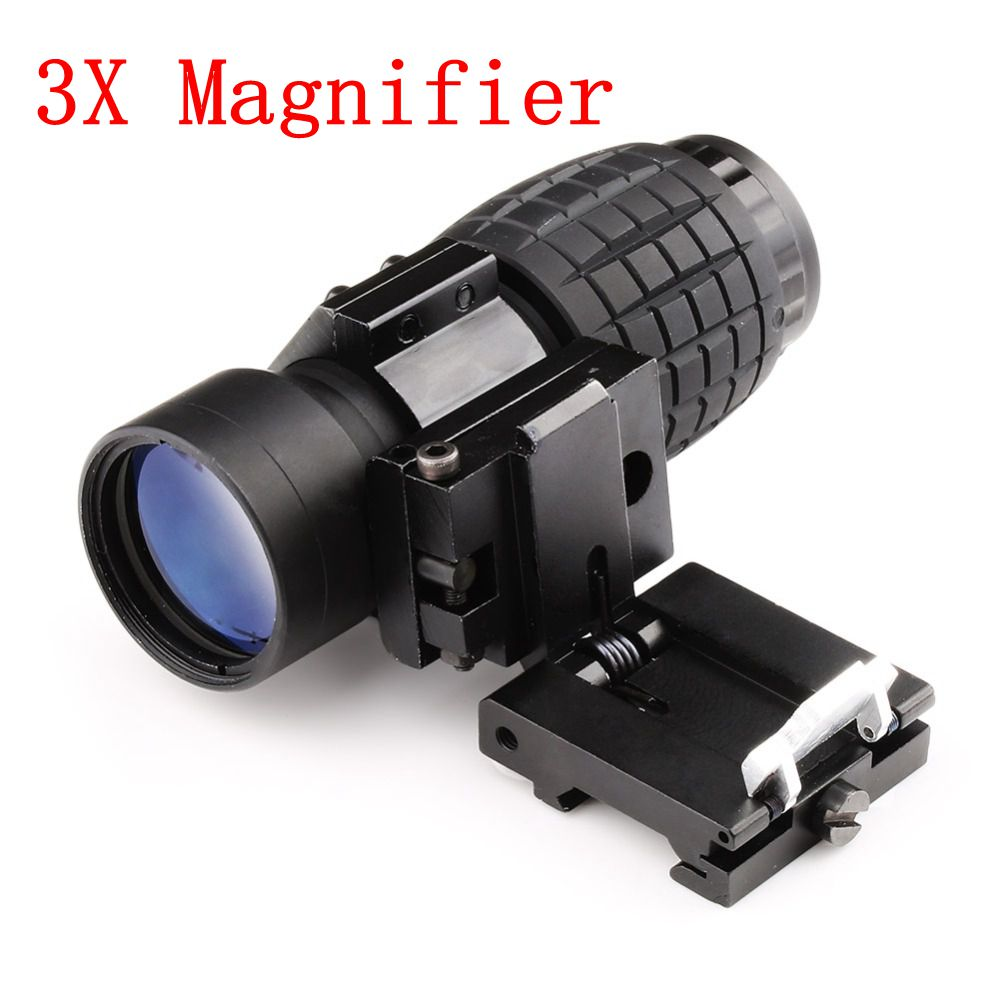 Hunting Optics 3X Magnifier Scope Compact Tactical Sight with Flip to 20mm Rifle Gun Rail Mount for Outdoor Airsoft Hunting стоимость