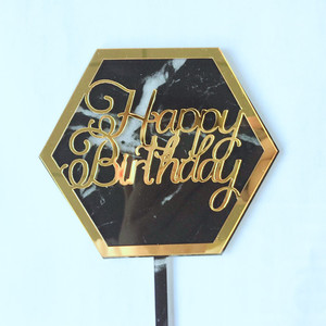 Image 5 - New INS Marble Acrylic Cake Topper Hexagon Gold Happy Birthday Cake Topper For Kids Birthday Party Cake Decorations Baby Shower
