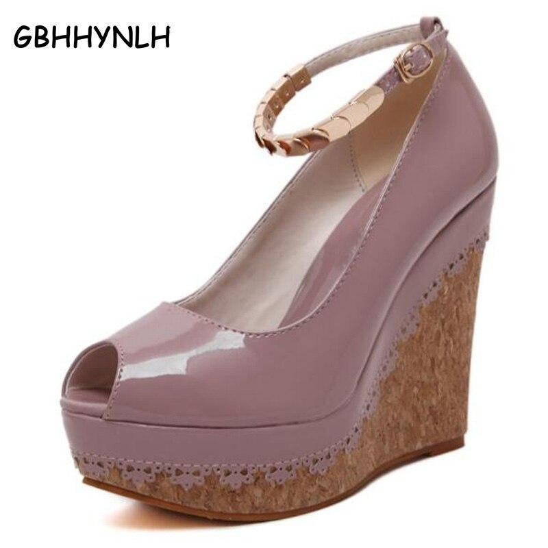 Platform pumps Wedges shoes for women High Heels Shoes 2018 High Heels Women purple red Pumps Platform Shoes Wedges heels LJA19