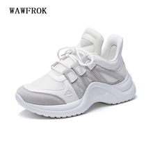 Women Sneakers 2018 New Fashion Women Casual Shoes Trends Ins Female White Flats platform Spring Summer Lace Up Size 35-40