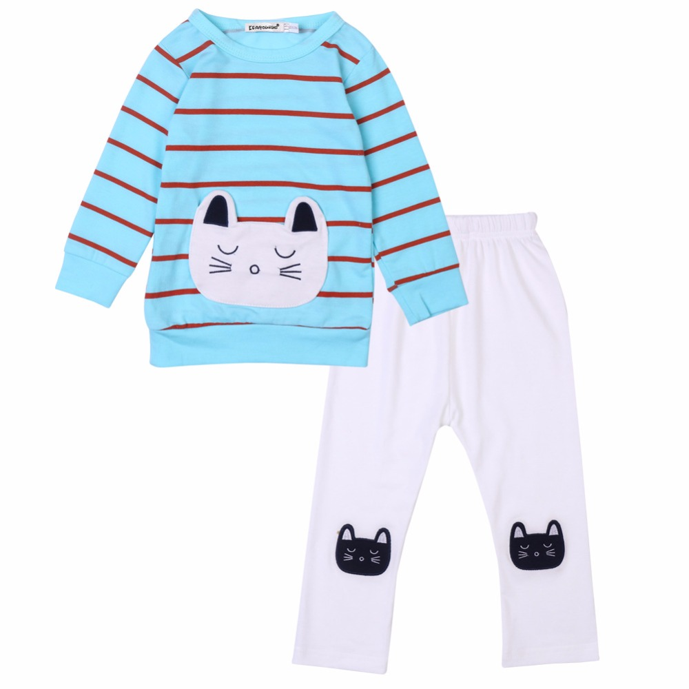 Spring Princess Long Sleeve Striped T shirt +Trousers Fashion Girls Cotton Cartoon Cat Shirt Pant Suit Kids Casual Clothes 18M06