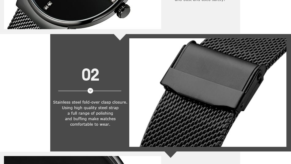 SINOBI Men Quartz Watch Luxury Top Brand Fashion Mesh Delicate Ultra-thin Business Watch Full Stainless Steel Male Wrist Watches 10
