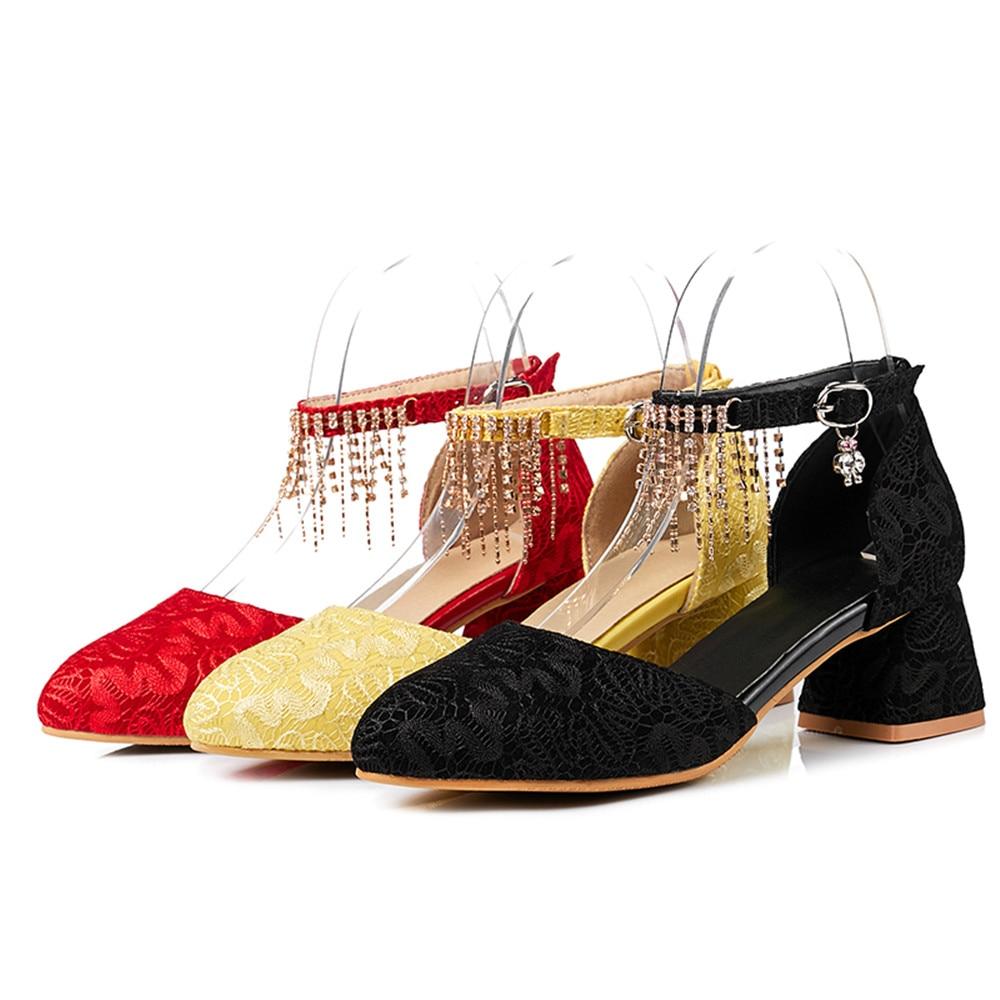 Automne De Taille Femmes Noir Nouvelle Pointu Talon Chaussures Noir Mariage Bout Carré yellow Arrivée Talons Asumer Femme Boucle Hauts Rouge 43 red Printemps ztZnWwqUq