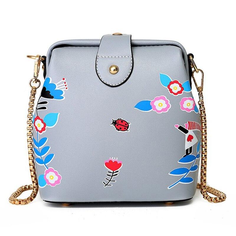 Women Print Floral Shoulder Bag Fashion Quality Pu Leather Ladies Flap Buckle Bag Chain Strap Female Crossbody Bags