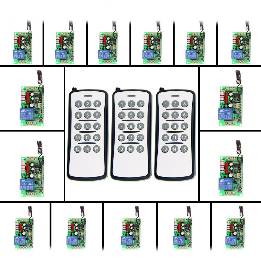 AC 220V 110V 1 CH 1CH RF Wireless Remote Control Switch System,(3 Transmitter+15 Receiver),Toggle/Momentary,315/433.92 wireless switch rf wireless remote control switch system 3 transmitter 4 receiver switch 12v 10a 1ch toggle momentary latched