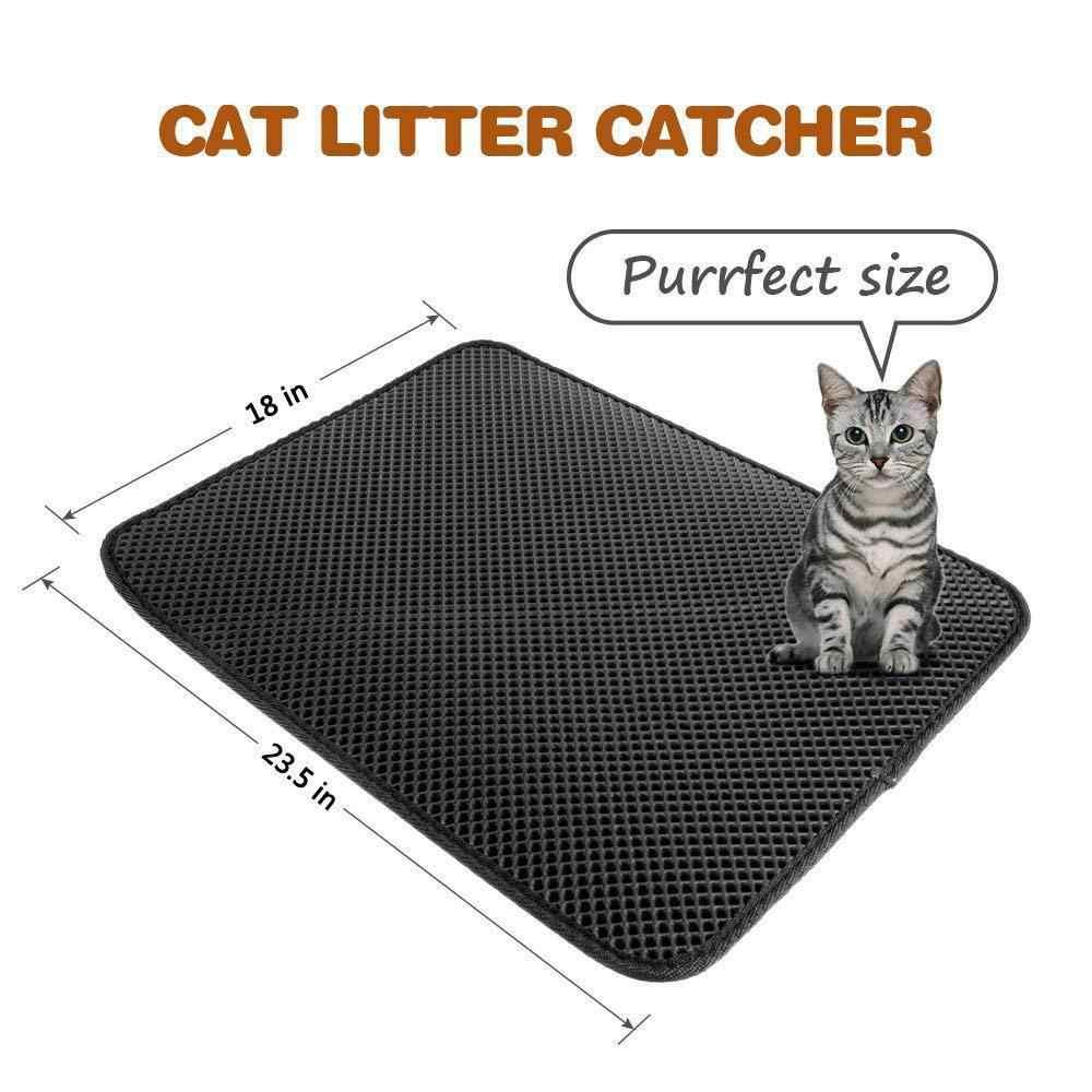 애완 동물 고양이 쓰레기 매트 더블 레이어 고양이 매트 쓰레기 사냥꾼 애완 동물 매트 접는 방수 비 슬립 애완 동물 쓰레기 매트 드롭 배송
