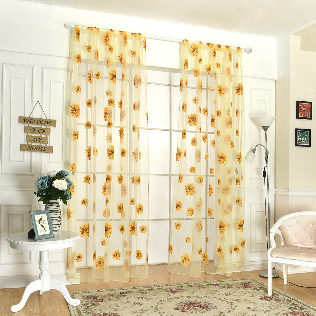 Country Style Door Window Sheer Sunflower Floral Drape Panel Balcony  Curtain Scarfs Valances