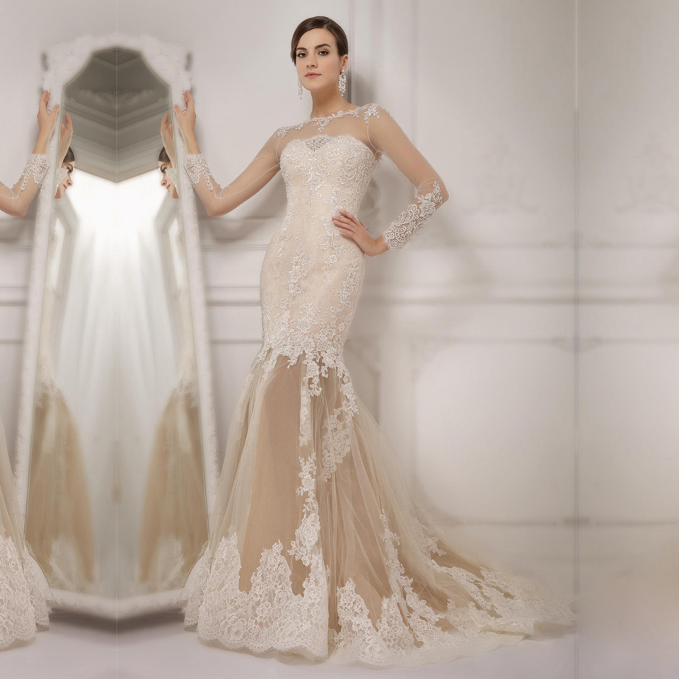 2016 See Thourgh Modern Fashion Mermaid Wedding Dresses Through Tulle Skirt Sheer Long Sleeve Appliqued Bride Dress YY299 In From