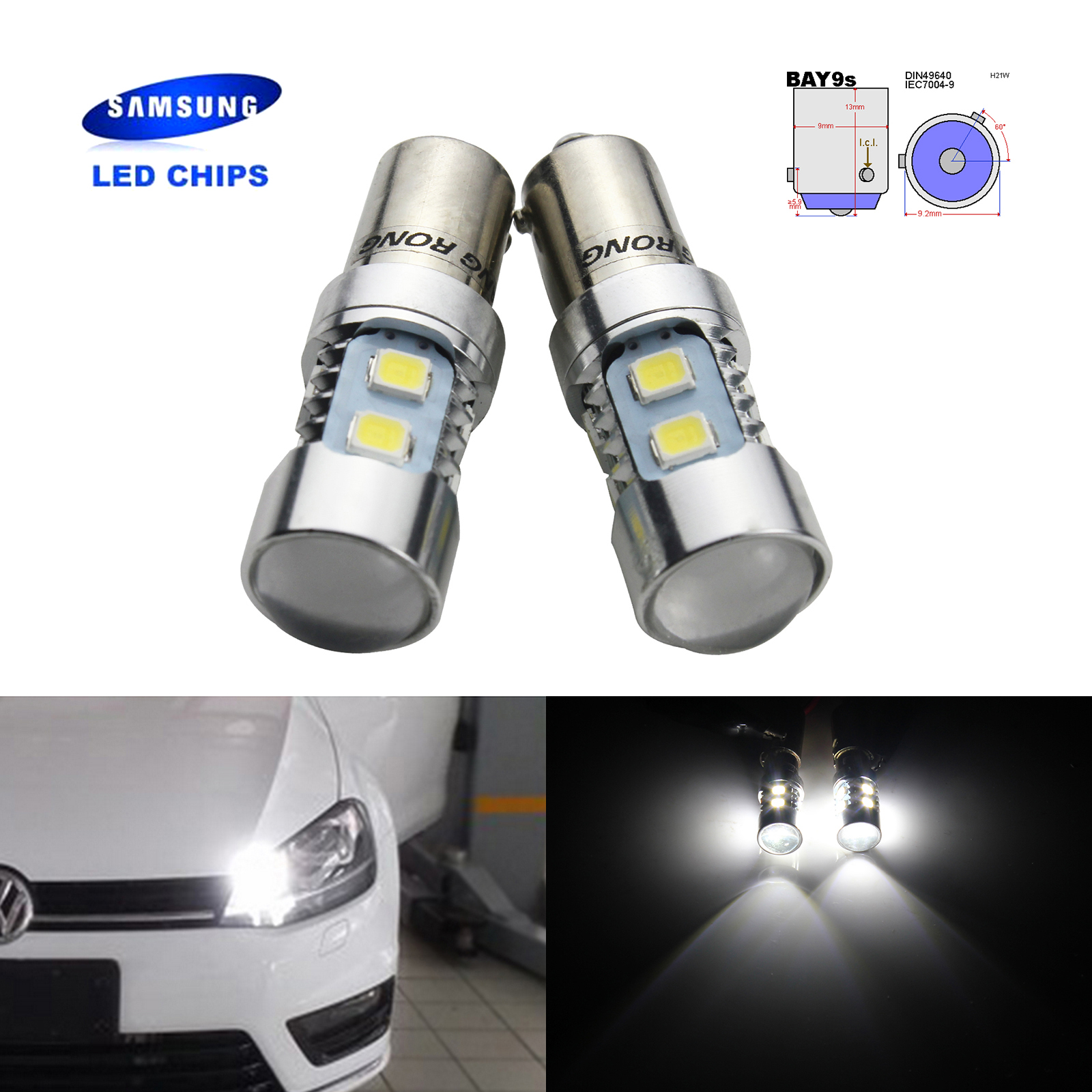 US $9 4 5% OFF|ANGRONG 2x White BAY9s 435 H21W 10 SMD SAMSUNG LED Reverse  Indicator Daytime Light Bulbs-in Signal Lamp from Automobiles & Motorcycles