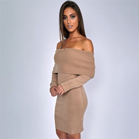 Autumn And Winter Basic Women Sweater 5 Colors Jumper Slash Neck Fashion Pullovers Tops Long Sleeve Knitted Sweaters Pull Femme