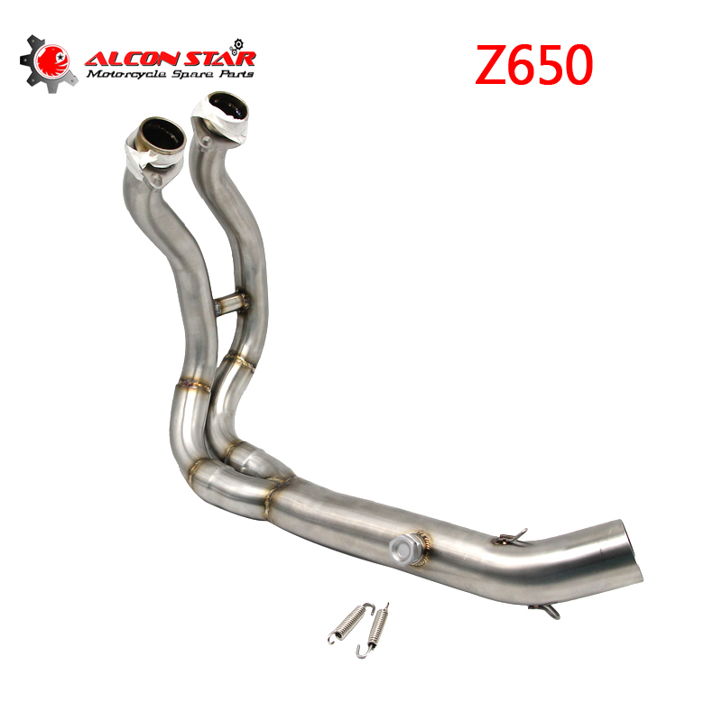цена Alconstar- Z650 Motorcycle Exhaust Muffler Middle Connect Link Pipe Middle Section Adapter Pipe for Kawasaki Z650 NINJIA650 онлайн в 2017 году