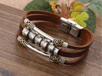 Punk Wind Back Word Grain Leather Bracelet With Fashion And Personality Woven Men S Pu Leather
