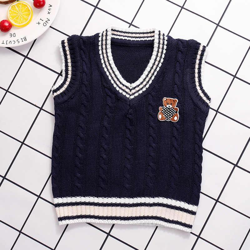 소년 스웨터 가을 겨울 소년 니트 조끼 두꺼운 어린이 민소매 스웨터 양복 조끼 키즈 v 넥 따뜻한 풀오버 스웨터 24m-5y