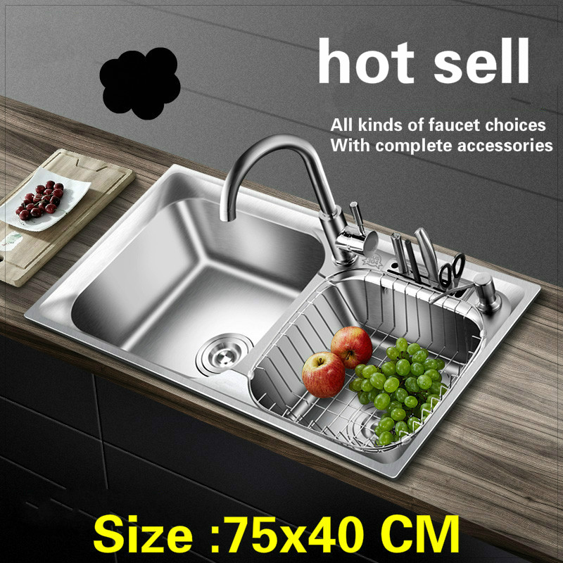 Free Shipping Standard Kitchen Sink Big Double Groove Stainless Steel Hot Sell 75x40 CM