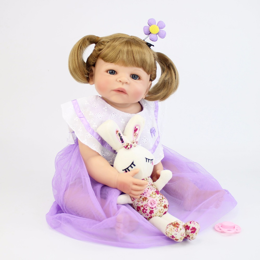 55 см Полный Силиконовые винил возрождается куклы реалистичные новорожденных принцесса малышей Bebe жив детский подарок на день рождения для ...