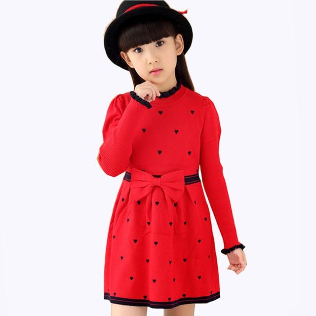 Red Kids Girls Clothes Children Autumn Winter Knitted Sweater Dress For Girls Long Sleeve O-Neck Cute Princess Dress New 2018