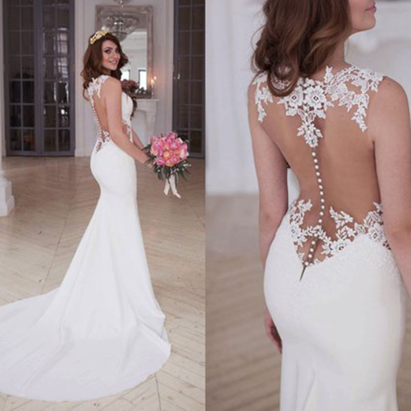 9-1    Mermaid Wedding Dresses Scoop Appliques Lace Beach Bride Dress Custom Made Sexy See Through Back White Ivory Wedding Gown