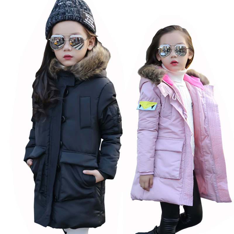 Girls Winter Jacket Girl Casual Fur Collar Coat Children Slim Cotton Padded Winter Coat Kids Thick Warm Down Cotton Jacket