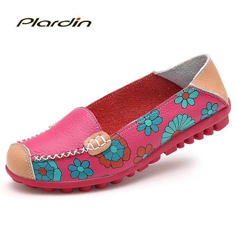 2016 Cow Muscle Ballet Summer Flower Print Women Genuine Leather Shoes Woman  Flat Flexible Nurse  Peas Loafer Flats
