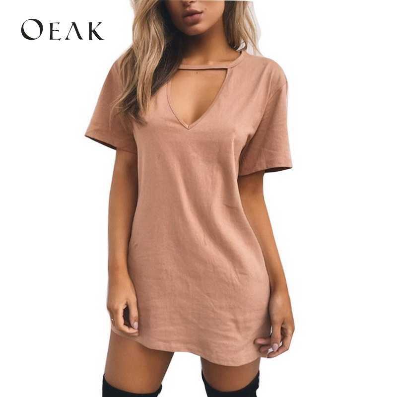 OEAK летнее женское платье-майка с коротким рукавом Мини платья женские сексуальные открытые Vestido базовый свободный халат femme