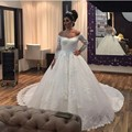 New Arrival Mermaid Wedding Dress 2016 Off the Shoulder Tulle Applique Long Sleeves Bridal Gown Custom Made